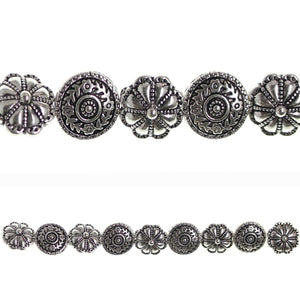 Silver Plated Floral Designer Lentil 14mm Bead MixBeads by Halcraft Collection