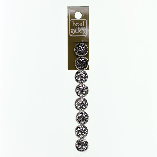 Silver Plated and Antiqued Hollow 16mm Filigree Lentil