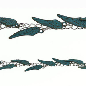 Brass Plated With Turquoise Vermeil Coating 8x26mm Wing Drop Charms by Halcraft Collection