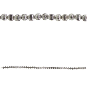 Silver Plated Corrugated 6mm Round BeadsBeads by Halcraft Collection