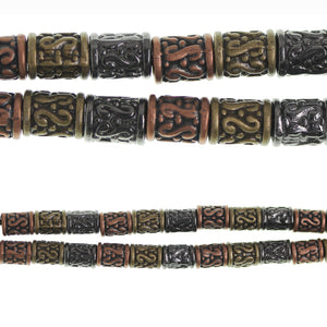 Multi Metal Plated and Antiqued Beads 9x7mm Hold Scroll Tube Bead