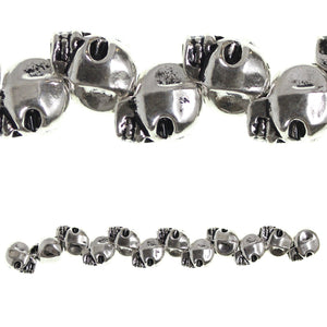 Silver Plated and Antiqued 10X12mm Skull BeadBeads by Halcraft Collection