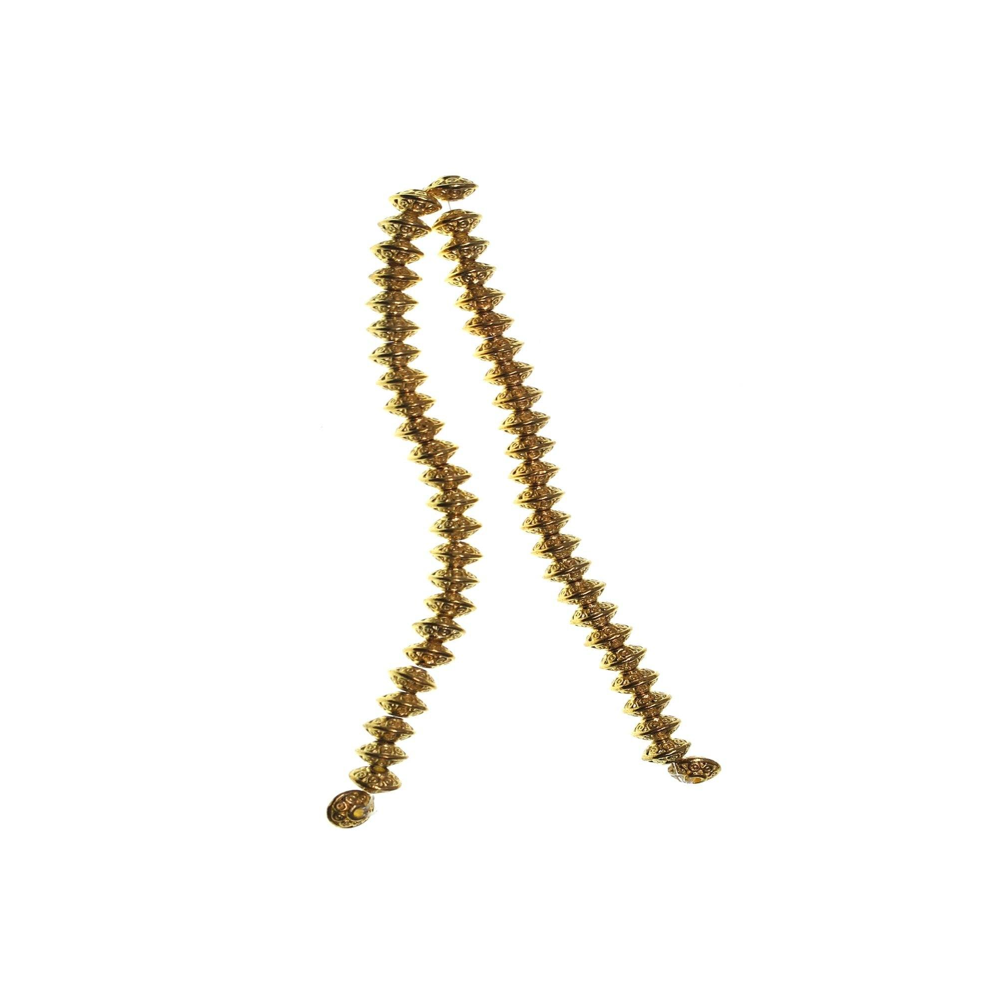 Gold Tone Metal Dot Rondell 4x6mm