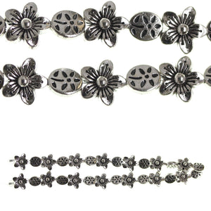 Silver Plated and Antiqued Approx 6mm  and 9mm  Flower Bead Mix