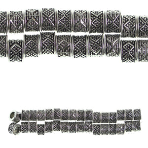 Silver Plated and Antiqued Large Hole 5x8mm Diamond Bump Tube BeadsBeads by Halcraft Collection
