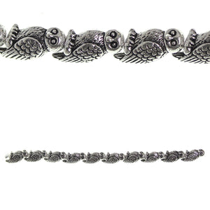 Silver Plated and Antiqued 8x16mm Wise Owl BeadBeads by Halcraft Collection
