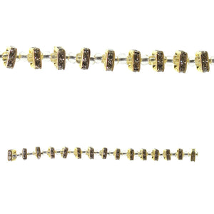 Gold Tone Rhinestone Rondell Square 8mm BeadsBeads by Halcraft Collection