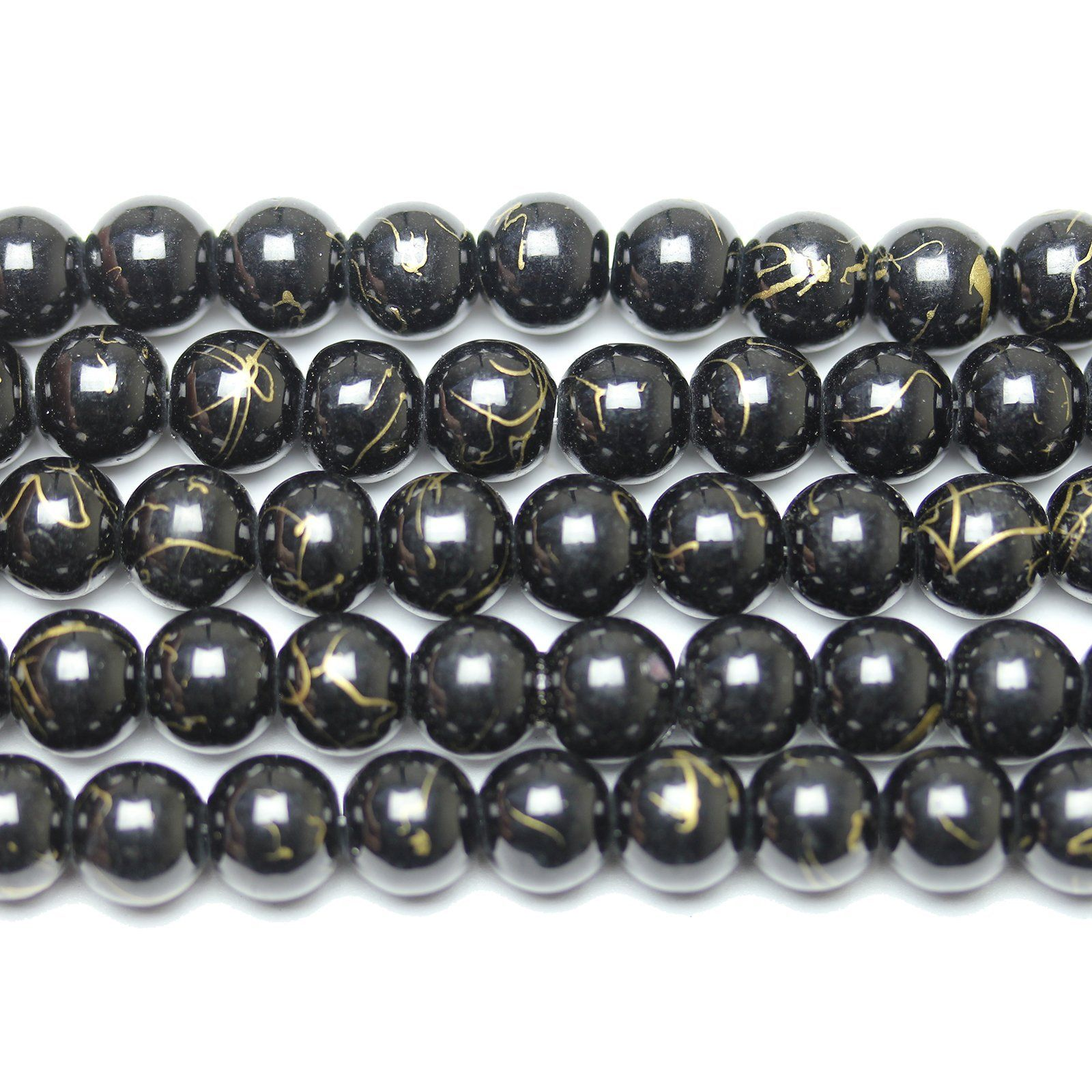 COATED BLACK GLASS ROUND JEWELLERY MAKING BEADS