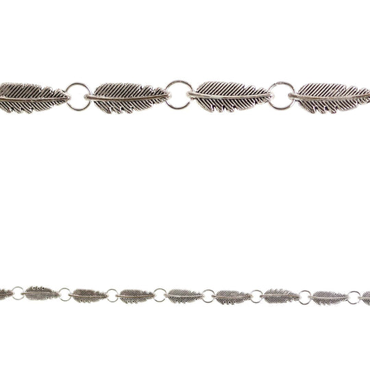 Silver Plated Feather Links 6x18mm BeadsBeads by Halcraft Collection