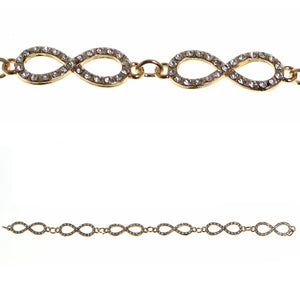 Gold Tone Plated Base Metal and Crystal Glass 10x32mm Infinity ConnectorsBeads by Halcraft Collection