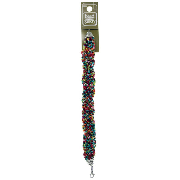Glass Multi Color Mix Seed Bead Bracelet With Extension