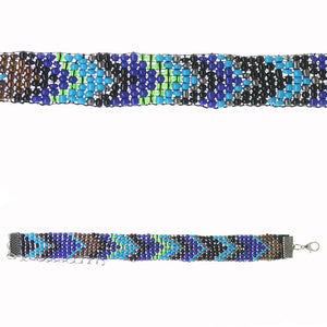 Glass/Nylon Blue Chevron Pattern Glass Seed Bead Friendship Adjustable BraceletBracelets by Bead Gallery