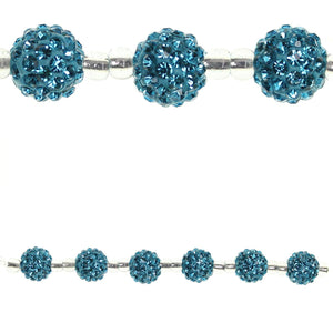 Aqua Glass Rhinestone Ball 10mm
