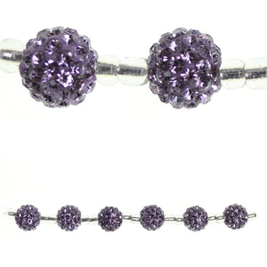 Lavender Glass Rhinestone Ball 10mm