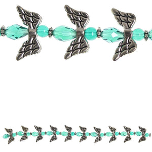 Glass and Metal Plated Aqua Angel Bead Mix