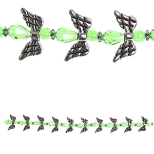 Glass and Metal Plated Green Angel Bead Mix