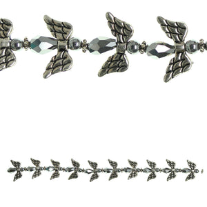 Glass and Metal Plated Silver Glass Angel Bead Mix
