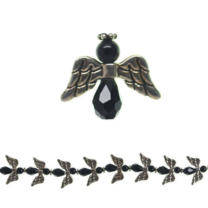 Silver Plated Antique Metal/Glass Faceted Black 18x20mm Angels BeadsBeads by Halcraft Collection