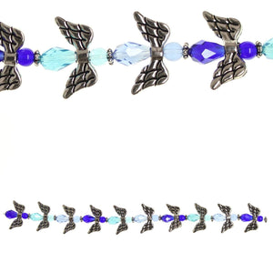 Glass and Metal Plated Blue Multi Angel Bead Mix