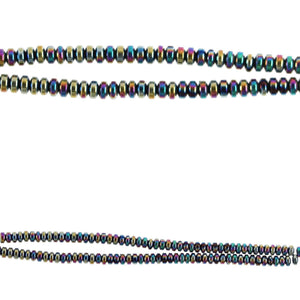 Hematine Stone Multi Iris 2x4 mm Rondell Beads de Halcraft Collection