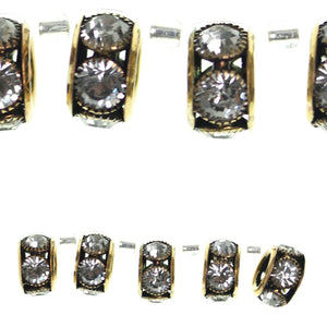 Gold Tone Plated Crystal Glass Large Hole 9x16mm Rhinestone Rondell BeadsBeads by Halcraft Collection