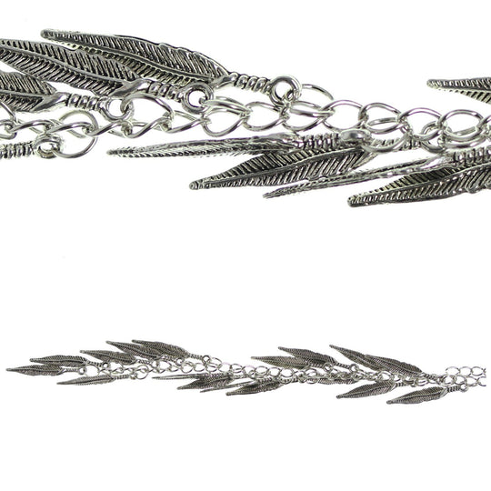 Silver Plated and Antiqued 4x28mm Feather Charm by Halcraft Collection