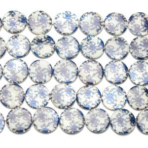 Beads, Bead, Shell, Shell Bead, Shell Beads, Lentil, Round, Lentil Bead, Round Bead, Lentil Beads, Round Beads, White, Blue, 20mm, Octopus