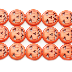 Reconstituted Stone Dyed Orange Pumpkin 15mm BeadsBeads by Halcraft Collection
