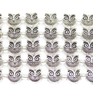 Silver Plated Zinc Alloy Owl 11mm