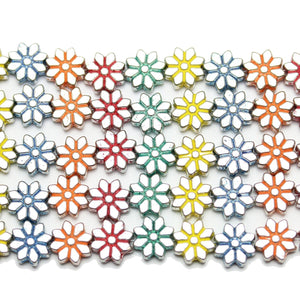 Bead, Beads, Metal, Metal Beads, Metal Bead, Metal Beads Plated, Multi, Multi Metal, Multi Colored Bead, Multi Color Bead, Mixed Color Bead, Mix Color, Mixed Color, Daisy, Flower, Daisy Bead, Flower Bead, Daisy Beads, Flower Beads, Daisy Metal Bead, Flower Metal Bead, 9mm