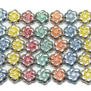 Bead, Beads, Metal, Metal Beads, Metal Bead, Metal Beads Plated, Multi, Multi Metal, Multi Colored Bead, Multi Color Bead, Mixed Color Bead, Mix Color, Mixed Color, Flower, Flower Bead, Flower Beads, Flower Metal Bead, 10mm