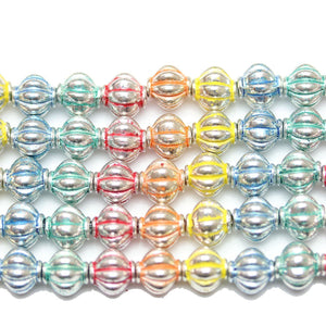 Bead, Beads, Metal, Metal Beads, Metal Bead, Metal Beads Plated, Multi, Multi Metal, Multi Colored Bead, Multi Color Bead, Mixed Color Bead, Mix Color, Mixed Color, Lantern, Lantern Bead, Lantern Beads, Lantern Metal Bead, 8mm