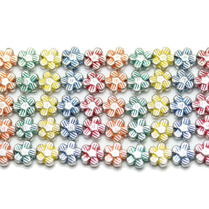 Bead, Beads, Metal, Metal Beads, Metal Bead, Metal Beads Plated, Multi, Multi Metal, Multi Colored Bead, Multi Color Bead, Mixed Color Bead, Mix Color, Mixed Color, Flower, Flower Bead, Flower Beads, Flower Metal Bead, 6.5mm, 6mm