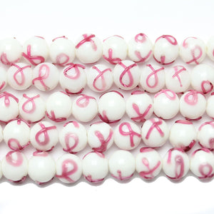 Beads, Bead, Glass, Glass Bead, Glass Beads, Round, Round Bead, Round Beads, White, Pink, 10mm, Lmapwork Beads, Lampwork, Lampwork Glass, Awareness, Awareness Ribbon, Awareness Ribbon Bead, Awareness Ribbon Beads