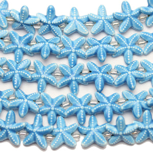 Beads, Bead, Ceramic, Ceramic Bead, Ceramic Beads, Starfish, Starfish Bead, Starfish Beads, Light Blue, Blue, 19mm