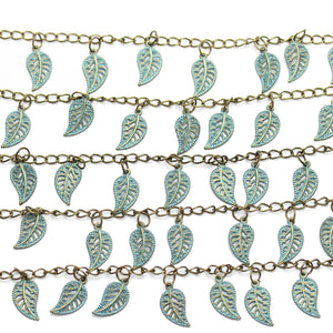 Patina Coated Zinc Alloy Leaf 10x18mm Beads by Halcraft Collection