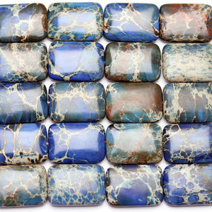 Blue Dyed Imperial Jasper Stone Rectangle 18x25mm Beads by Halcraft Collection