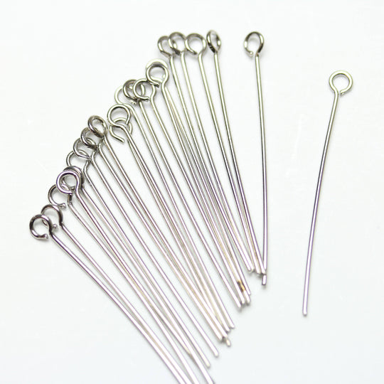 Silver Tone Plated Brass Eye Pins .6X35mm Findings by Halcraft Collection