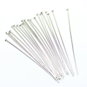 Silver Tone Plated Brass Head Pins .6X40mm Findings by Bead Gallery