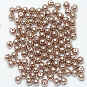 Glass Pearl 6mm Round Taupe Beads