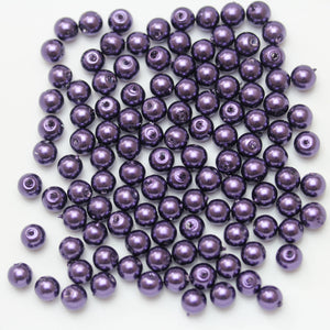 Glass Pearl 6mm Round Purple Beads