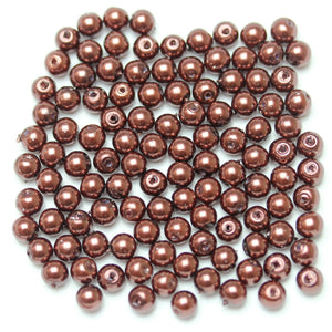 Glass Pearl 6mm Round Scarlet Beads