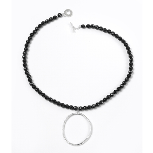 Onyx, Circle, Hammered, Silver Plated, Natural Stone, Black