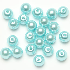 Glass Pearl 8mm Round Aqua Beads