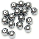 Glass Pearl 10mm Round Grey Beads