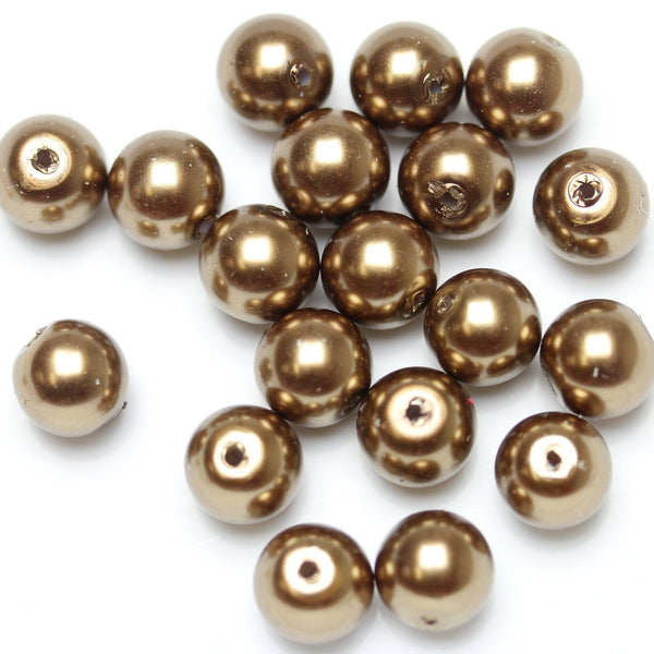 Glass Pearl 10mm Round Brown Beads