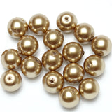 Glass Pearl 10mm Round Light Brown Beads
