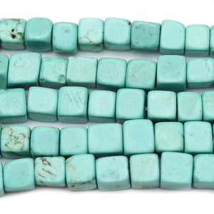 Turquoise Dyed Howlite Stone Cube 5mm