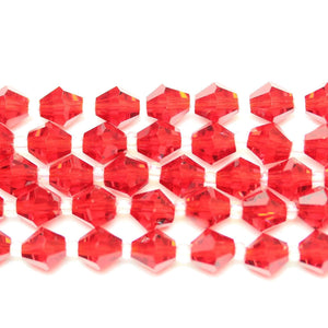 Bead, Beads, Glass, Glass Beads, Glass Bead, Faceted, Red, Bicone, Bicone Beads, Bicone Bead, 8mm, 39204