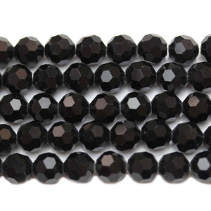 Bead, Beads, Glass, Glass Beads, Glass Bead, Faceted, Black, Round, Round Beads, Round Bead, 8mm, 39539